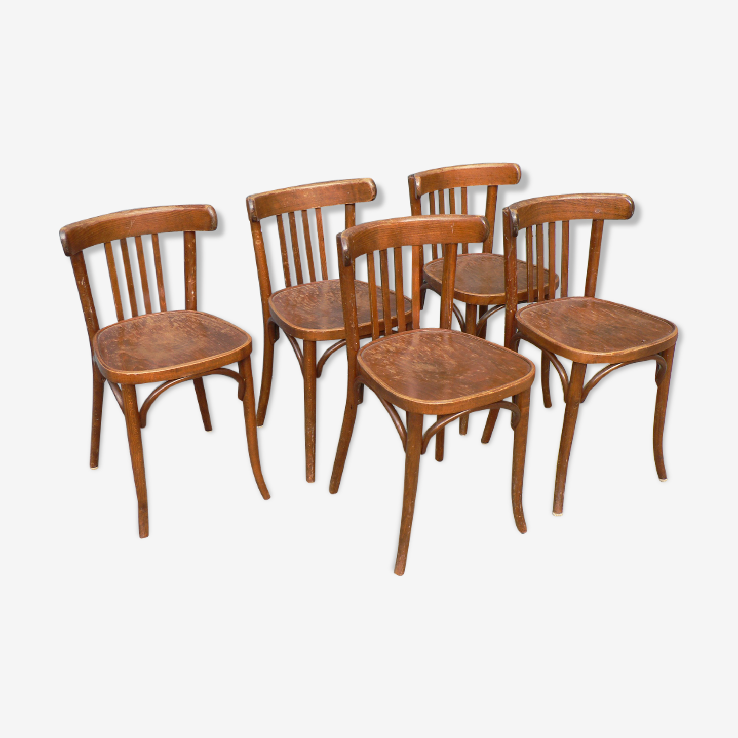 Set of 5 Bistro chairs wood