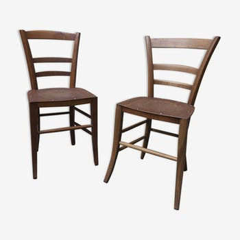 Pair of chairs wood designs sitting 20 years pressed
