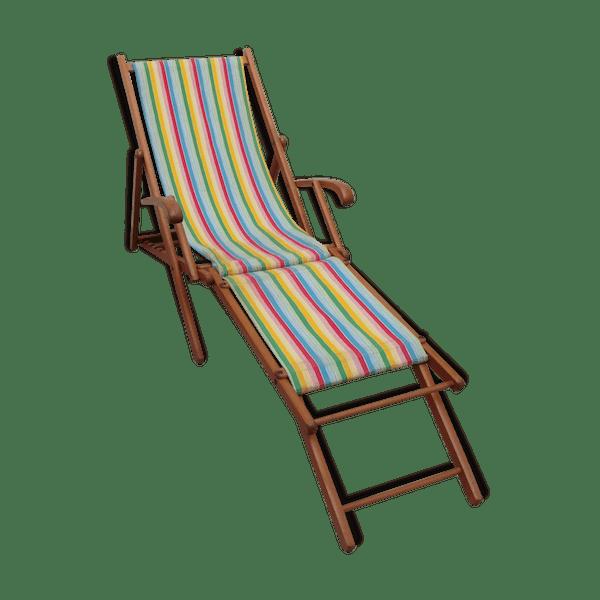 Chaise longue chilienne bois mat riau multicolore for Chaise longue avec repose pied