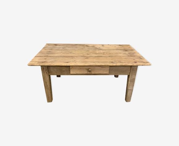 Low farm table in raw oak