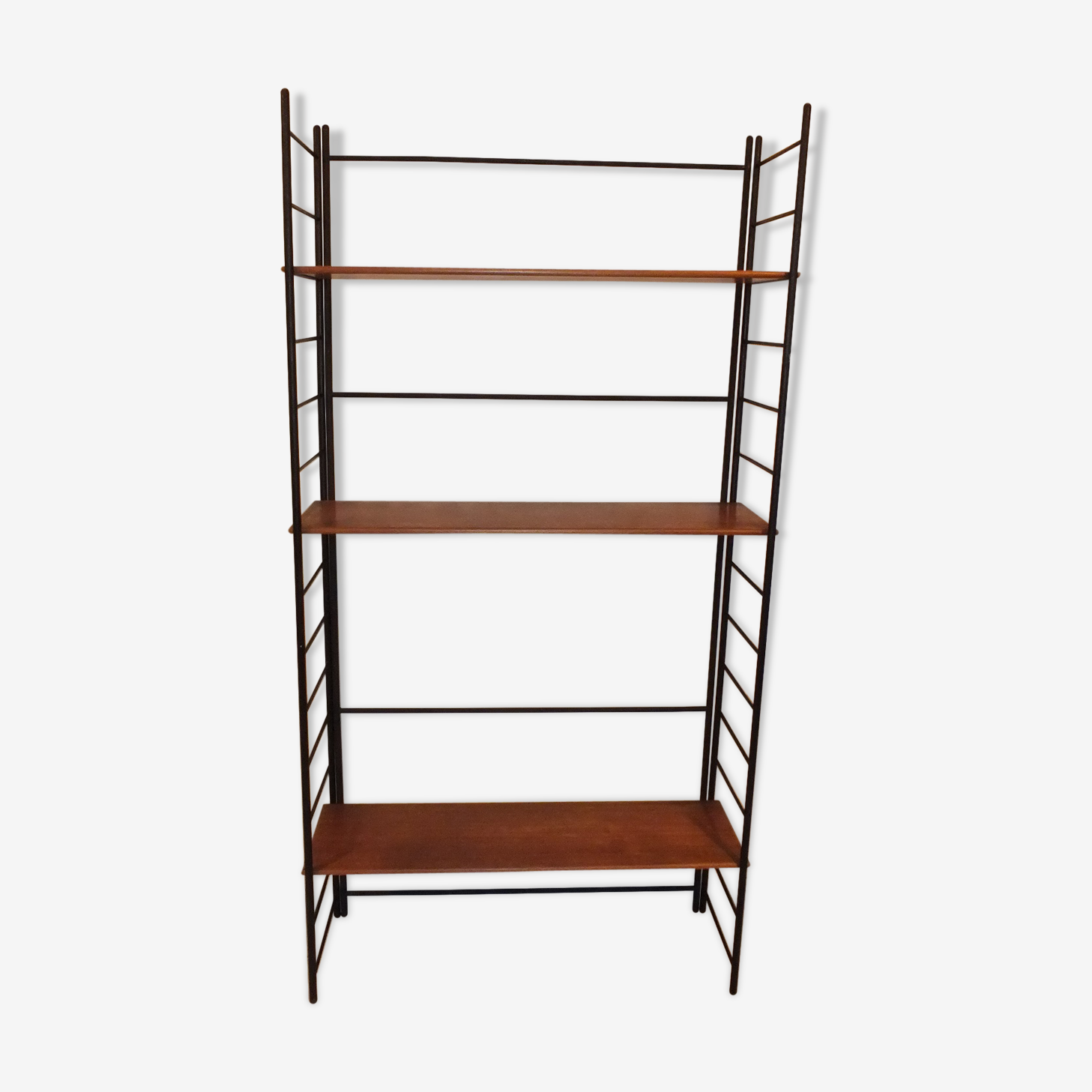 Large shelf library Mid-Century teak and Metal