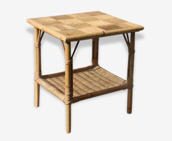Petite Table Basse Guéridon Rotin Osier Bambou Paille Vintage Années