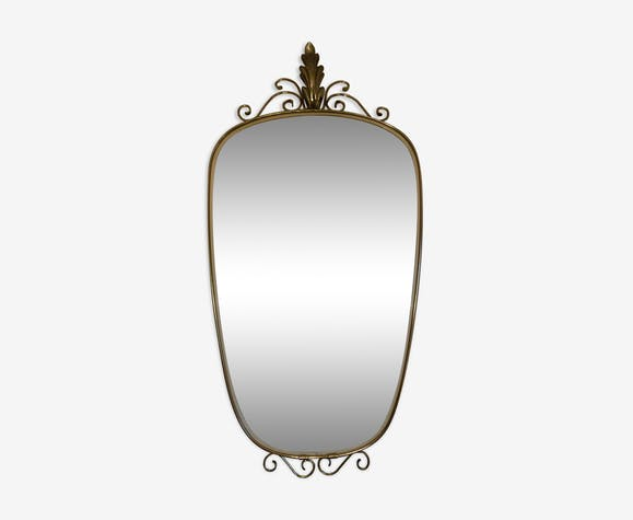Miroir rétroviseur/forme libre doré, milieu du 20eme siècle
