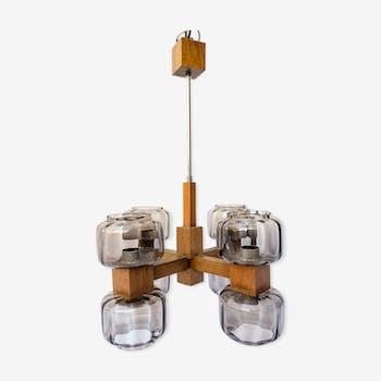 Scandinavian 1960s wooden chandelier