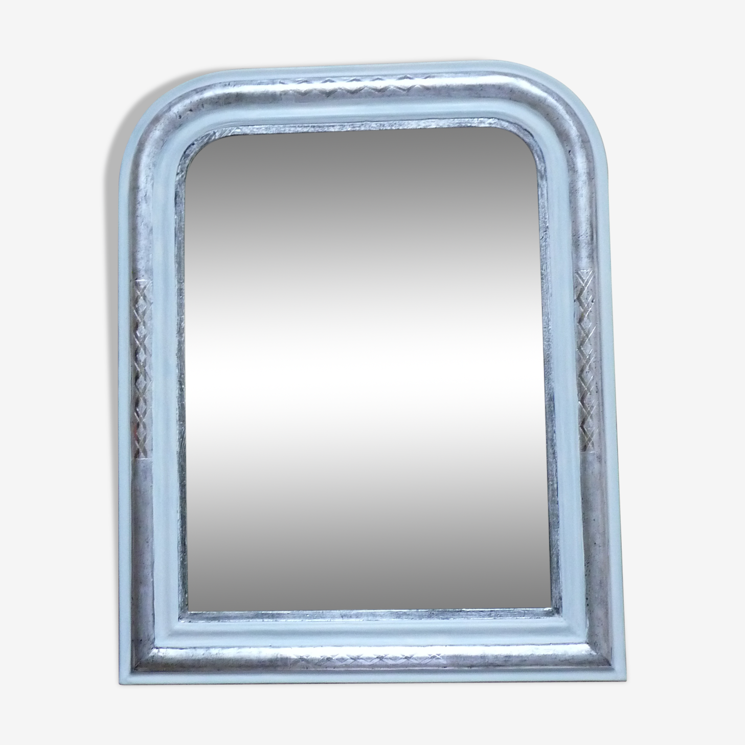 Mirror Louis Philippe style renovated in silver