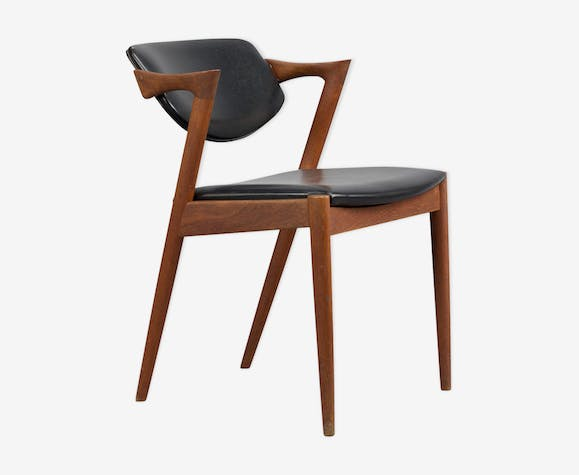 Z-chair in teak with black leather by Kai Kristiansen for Slagelse, 1960s