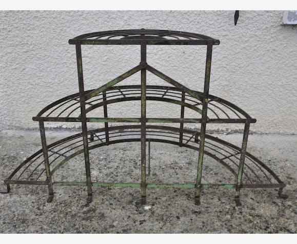 Ancien porte-plantes demi-lune en fer forgé fleurs fleuriste meuble ...