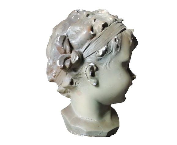 Buste en plâtre d'enfant signé Nelson fin XIX° début XX°