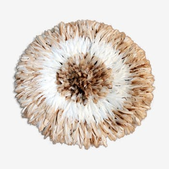 Juju hat traditional white speckled in natural feathers 80cm