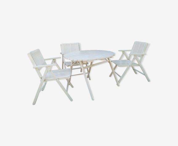 Salon de jardin en bois - bois (Matériau) - blanc - vintage - 5G7UKZXV