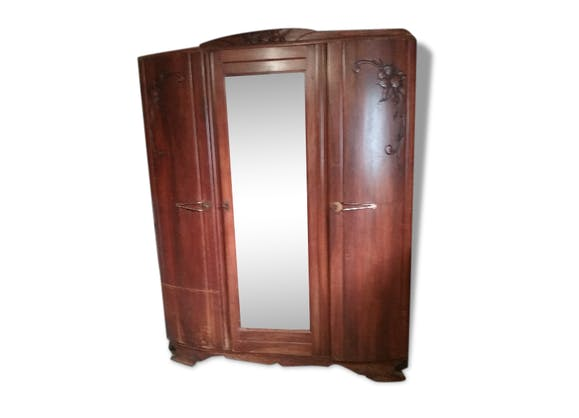 armoire 1940 avec glace bois mat riau bois couleur. Black Bedroom Furniture Sets. Home Design Ideas