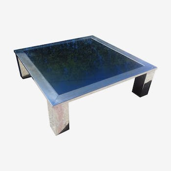 Coffee table square in chromed steel and mirror blue around 1970