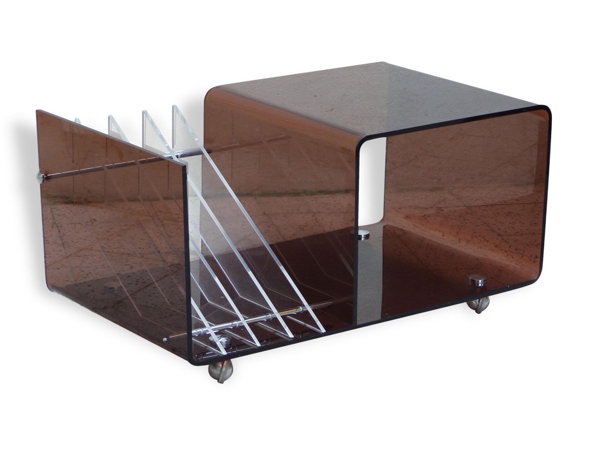 Meuble Tv Plexiglass Porte Revue Et Range Vinyles Plexiglass De  # Meuble Tv Sur Roulettes First Plexiglass