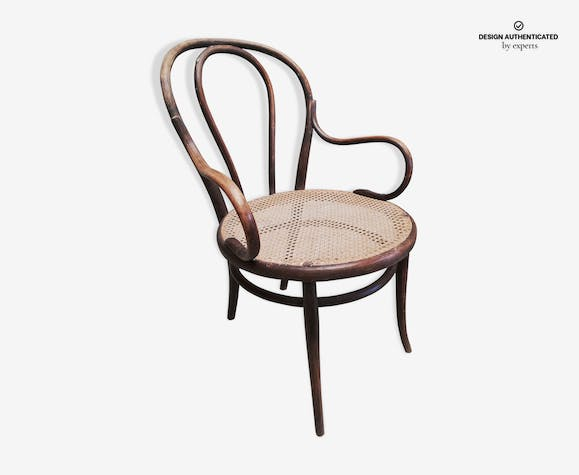 Curved wooden bistro armchair, stamped Thonet