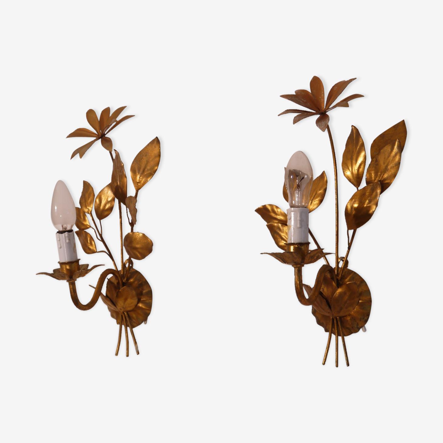 Paire d'appliques vintage fleurs en métal doré