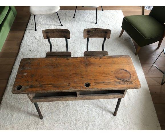 Bureau d'écolier vintage en bois