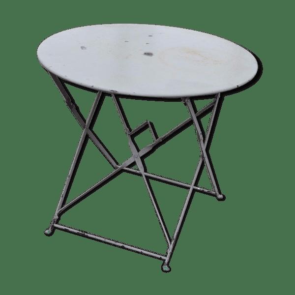 Table de jardin pliante en fer - fer - gris - bon état - classique - ymoDeC2