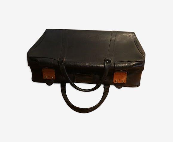 Valise en cuir noir vintage