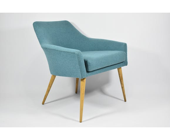 Fauteuil vintage Shell, tissu turquoise, années 1960
