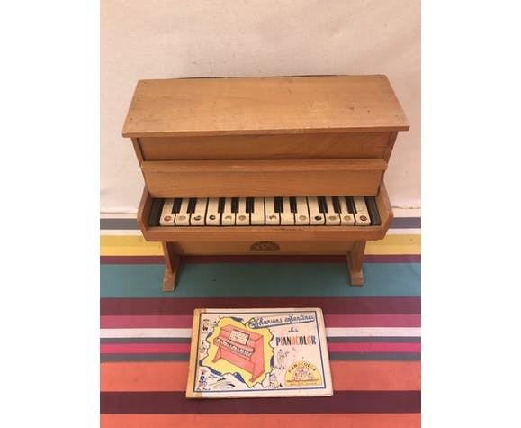 Piano enfant Pianocolor 14 touches jouet bois avec partitions vintage