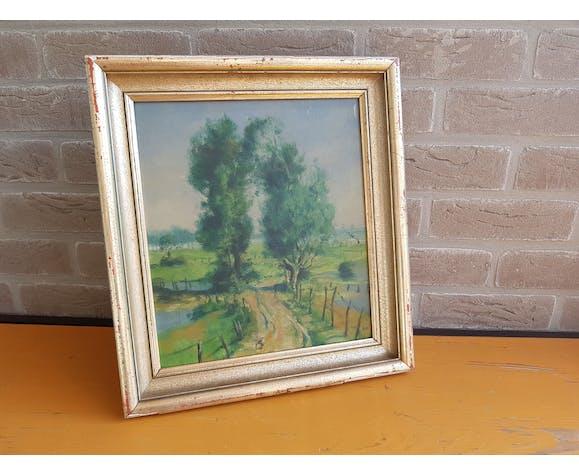 Peinture paysage sur bois