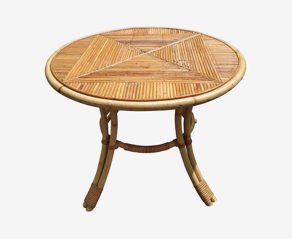 Table basse vintage en rotin et bambou 1960