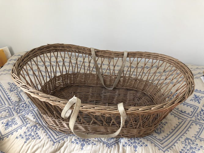Ancient wicker, rattan couffin