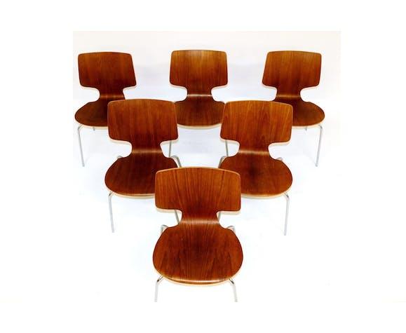Set de 6 chaises en teck et en métal, Danemark, 1970