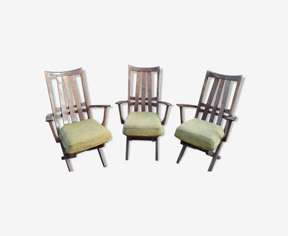 3 Relax Armchairs Seats Triconfort Vintage 50 Wood Green