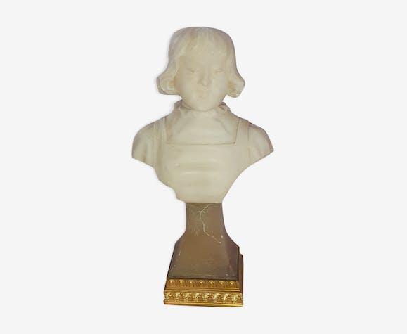 Buste enfant en marbre blanc Art nouveau