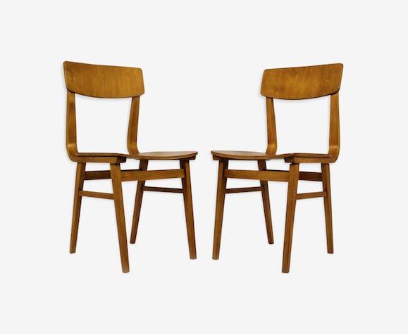 Lot de 2 chaises en contreplaqué de Riga, fabriqué en URSS, 1981