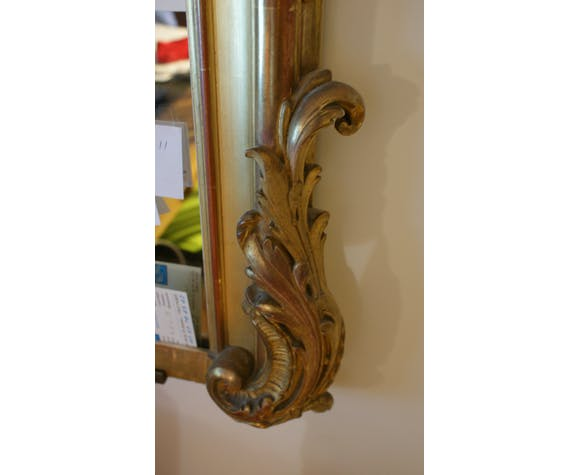 Miroir plâtre doré et stuc 115x165cm 19ème dos planches à Paris
