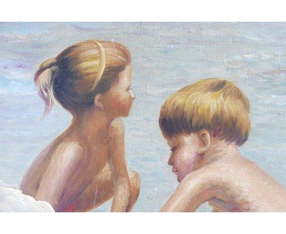 Peinture à l'huile: jeux d'enfants, années 50