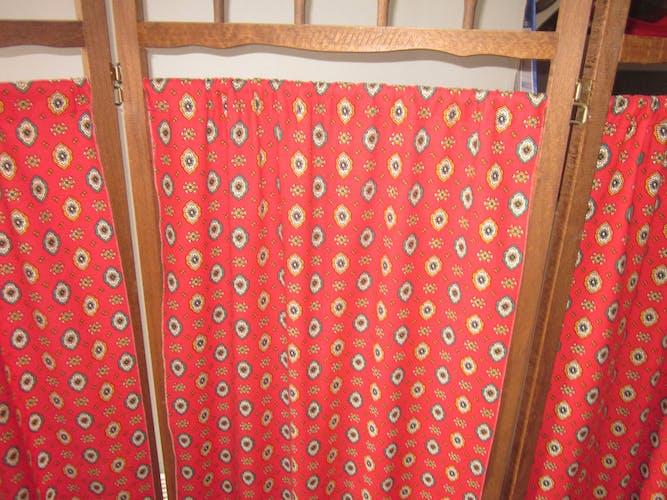 Paravent vintage bois et tissu