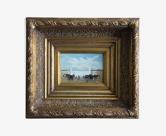 Tableau marine peinture à l'huile sur bois signée et grand cadre doré