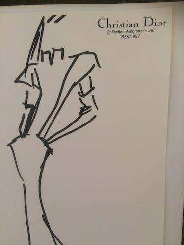 """Illustration de mode de presse """"collection automne/hiver 1986/1987"""" Christian Dior"""