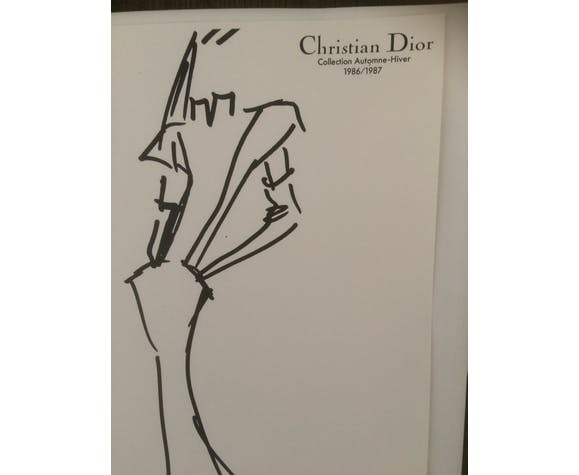 "Illustration de mode de presse ""collection automne/hiver 1986/1987"" Christian Dior"