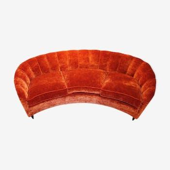 Italian orange velvet sofa, 1950