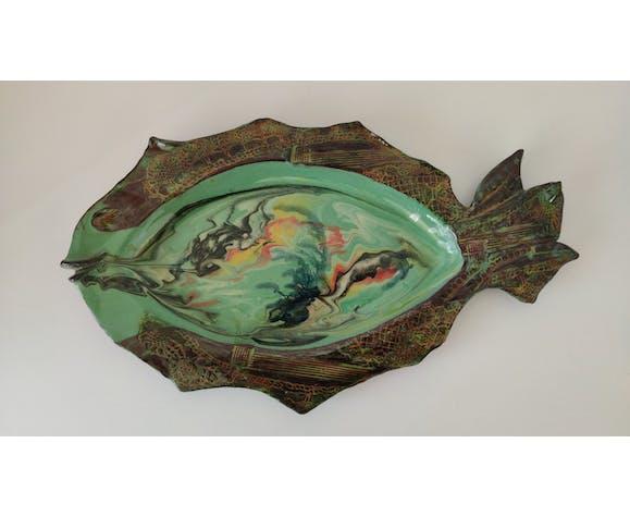 Plat Poisson vintage en céramique