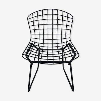 Chaise enfant en métal noire design Harry Bertoia