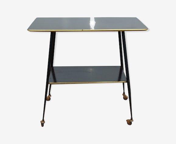 Desserte meuble tv roulettes en bois ann es 50 bois mat riau marron vintage p4tpayz - Meuble tv annee 50 ...