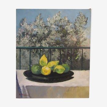 Les citrons - Huile sur toile - Bernard Neveu XX°