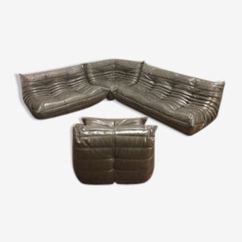 Set sofa chocolate brown Togo leather by Michel Ducaroy for line Roset, 1970 s