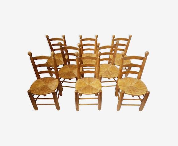 Suite de 8 chaises en chêne vintage 1970
