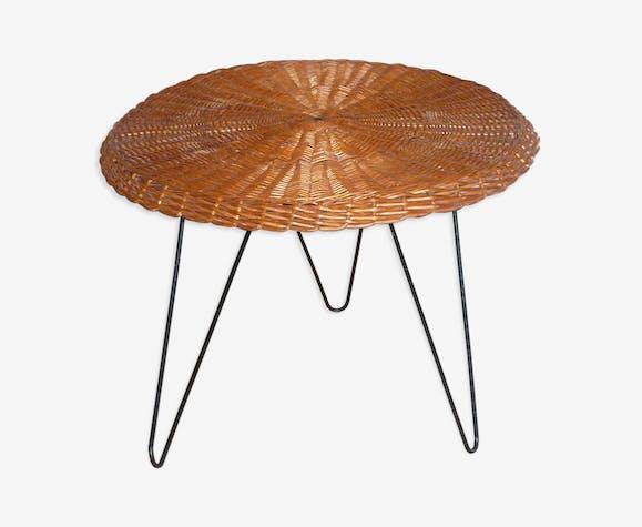 Table basse rotin tripode vintage années 50