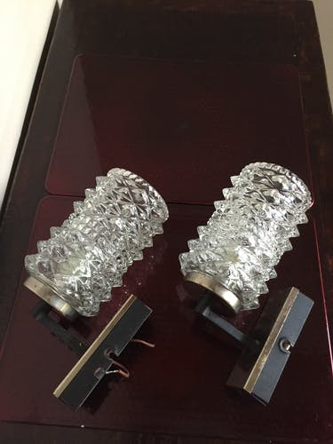 Pair of 50s molded glass wall sconces