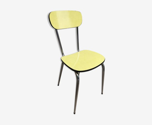 chaise ancienne cuisine formica jaune pieds compas m tal vintage formica jaune vintage. Black Bedroom Furniture Sets. Home Design Ideas