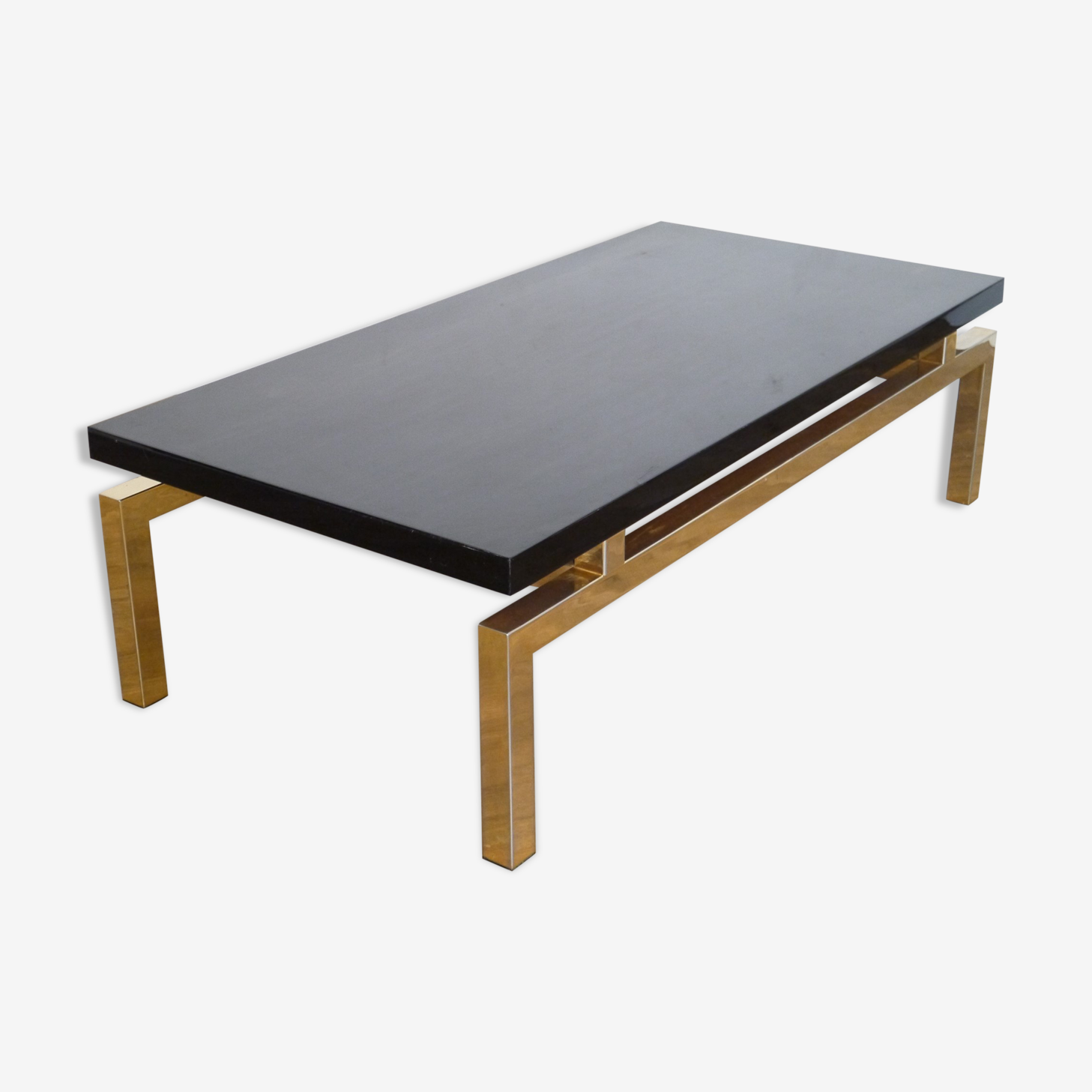 Table low 1970 lacquered wood and brass