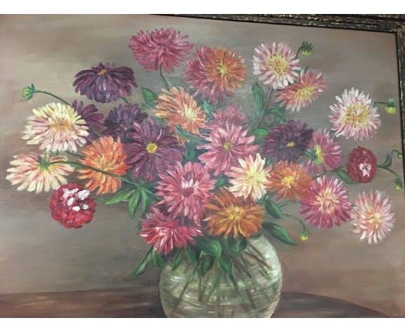 Tableau à l'huile sur panneau décor floral signé René Mary