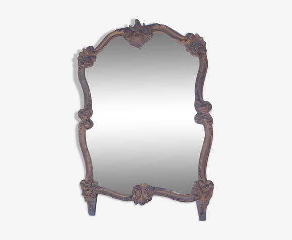 Miroir de style rocaille bois et stuck doré 70x100cm